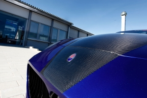 Bonnet with carbon fiber coated on the Maserati 4200