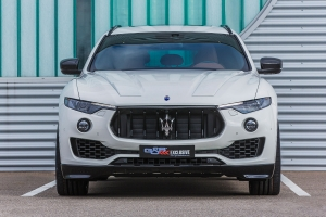 The front grille of the Maserati Levante has been refined with visible carbon